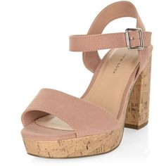 New Look Wide Fit Nude Suedette Contrast Flared Heel Sandals ($34) ❤ liked on Polyvore featuring shoes, sandals, oatmeal, nude high heel sandals, wide heel sandals, nude high heel shoes, nude shoes and high heel sandals