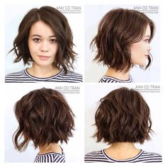 Summer 2018 Hair Color and Style Trends - Get Your Beauty - Frisuren - Haarfarben Short Bob Hairstyles, Pretty Hairstyles, Trendy Haircuts, Everyday Hairstyles, Choppy Bob Hairstyles Messy Lob, Curly Hairstyles For Medium Hair, Short Hairstyles For Round Faces, Teenage Girl Haircuts, Cute Short Haircuts