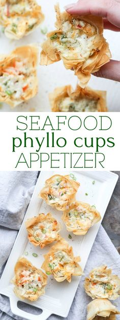 Easy recipe for Seafood Phyllo Cups Appetizers. Phyllo (Fillo) sheets, shaped into mini cups and filled with shrimp, crab, cream cheese, dill and green onion. Baked until phyllo sheets are crispy and crunchy. Appetizers For A Crowd, Seafood Appetizers, Finger Food Appetizers, Appetizer Dips, Appetizers For Party, Finger Foods, Phyllo Appetizers, Parties Food, Seafood Party