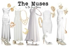 Formal prom outfits inspired by the muses from the movie Hercules! Estilo Disney, Disneybound Outfits, Disney Inspired Fashion, Disney Fashion, Percy Jackson Outfits, Character Inspired Outfits, Disney Character Outfits, Disney Dress Up, Disney Themed Outfits