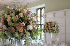 Centrepieces, Table Centerpieces, Bury St Edmunds, Tudor Rose, Tall Vases, Floral Wreath, Wreaths, Flowers, Pink