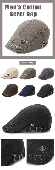156b420a76e Men s Cotton Embroidery Adjustable Beret Cap Duck Hat Sunshade Casual  Outdoors Peaked Forward Cap is designer