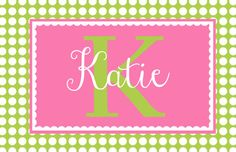 """Personalized Placemat - matches kids plate and dishsets laminated 12x18"""""""