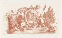 Jan Punt   Wapen van stadhouder Willem IV, 1747, Jan Punt, 1747   Het wapen van stadhouder Willem IV omringd door spelende naakte engeltjes aan waterkant. Wapen vóór het randschrift: Honi soit qui mal y pense. Mogelijk naar aanleiding van de verheffing van Willem IV tot erfstadhouder in 1747.