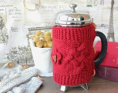 Christmas gift French Press Cozy for mom sisters wife, knit Cover Coffee Tea Pot Cozy Warmer 1 litre, home decor, gift ideas for her and him