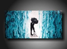 Art original Abstract painting  JMJARTSTUDIO Original Painting 18 X 36 Inches  -------What lies ahead ---- Teal on Etsy, $239.00