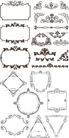 Decorative frames and corners vector