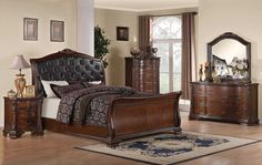 Maddison, Maddison Sleigh Bedroom Set, Dining Room Table Sets, Bedroom Furniture, Curio Cabinets and Solid Wood Furniture - Model - Home Gallery Stores Furniture Sleigh Bedroom Set, Master Bedroom Set, 5 Piece Bedroom Set, Sleigh Beds, Queen Bedroom, Bedroom Bed, Bedrooms, Ikea Bedroom, Queen Beds