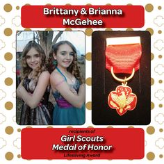 Brianna & Brittany McGehee earned the Girl Scouts Medal of Honor for their lifesaving actions.   The 11 year old twins from Mt. Vernon, IL, kept calm and used their First Aid/CPR skills to help their sister after she appeared to suffer a stroke.