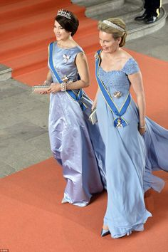 Royalty: Crown Princess Mary of Denmark (left) and Queen Mathilde of Belgium (right) arriv...