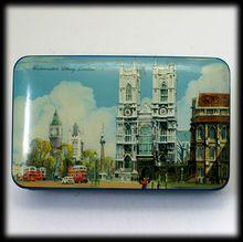 Vintage British Blue Bird Toffee Tin Westminster Abbey