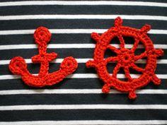 Discover thousands of images about Crochet nautical applique Crochet Leaf Patterns, Crochet Leaves, Christmas Crochet Patterns, Applique Patterns, Amigurumi Patterns, Crochet Motif, Crochet Flowers, Crochet Stitches, Crochet Car