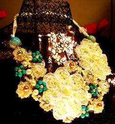 Wedding Adornment Necklace, The Bridal Necklace, Wedding Lace Necklace, Pearl & Lace Wedding Necklace, Lace Wedding Necklace Handmade. $70.00, via Etsy.