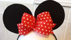 Check out this item in my Etsy shop https://www.etsy.com/listing/231030328/minnie-ears-headband-red-bow-white-polka