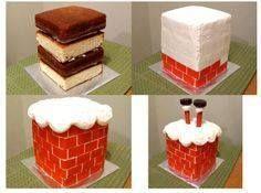 Santa going down chimney cake Christmas Cake Designs, Christmas Cake Decorations, Christmas Cupcakes, Holiday Cakes, Christmas Desserts, Christmas Treats, Santa Christmas, Xmas Cakes, Christmas Wedding