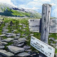 """""""The Davis Path, Mount Washington, New Hampshire,"""" by Rebecca M. Fullerton.  The Davis Path starts deep in Crawford Notch, New Hampshire and stretches over fourteen miles, almost to the summit of Mount Washington. Its upper reaches are above treeline, with spectacular views along the Presidential Range. It meets up with many other trails, marked by weather-worn wooden signs.  Original 5""""x5"""" watercolor painting, signed by the artist, matted deep behind the glass in a white 10""""x10""""x1¾"""" shadow…"""