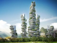How beautifull is this! new vertical farm project in Shenzen. Farmscraper - love it. Vincent Callebaut Unveils Stacked Pebble Eco-Farmscrapers for Shenzhen Architecture Design, Green Architecture, Futuristic Architecture, Innovative Architecture, French Architecture, Urban Agriculture, Urban Farming, Future City, Cairns