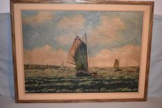 Very old 18th century seascape oil painting scenery from