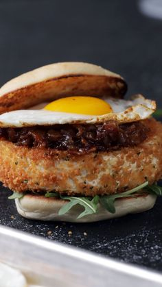Hangover Breakfast Sandwich - Quick and Easy Breakfast Recipes - A late night out calls for an entire deep-fried Camembert cheese wheel topped with bacon jam, a fri - Breakfast Sandwich Recipes, Brunch Recipes, Breakfast Ideas, Egg Recipes For Dinner, Breakfast Burger, Breakfast Quiche, Breakfast Potatoes, Breakfast Burritos, Breakfast Casserole