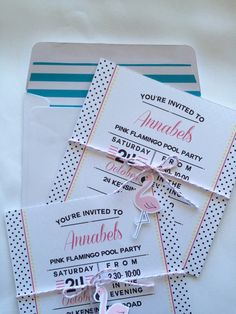 Pink flamingo pool party birthday invitation with mini flamingo and bakers twine detail. Polka dots