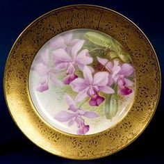 "William Morley ""Purple Orchids"" plate~Bone china with enamel decoration and gold etched border~Circa 1906-1912"