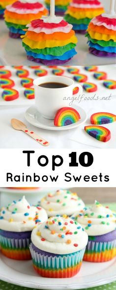 Top 10 Rainbow Cupcakes   I've been delving into the colourful world of Rainbow Cakes & Cupcakes while scouting for cake talent on Pinterest, and I thought that I would share with you my favourite top 10 rainbow cupcakes.   http://angelfoods.net/top-10-rainbow-cupcakes/