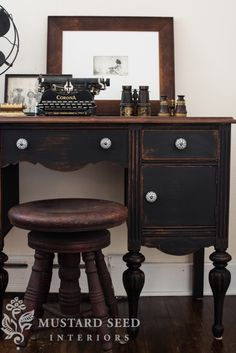 #desk #mustardseed #dark #neutrals #stool #typewriter