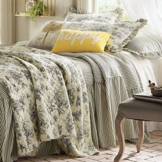 Ticking Stripe Ruffled Bedspread