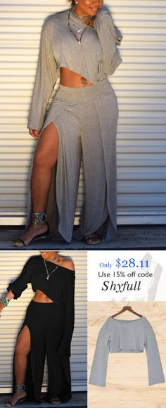 Hot Sale Shyfull Trendy Side High Slit Two-piece Pants Set Cute Fashion, Trendy Fashion, Plus Size Fashion, Womens Fashion, Fashion Trends, Trendy Style, New Outfits, Spring Outfits, Stylish Outfits