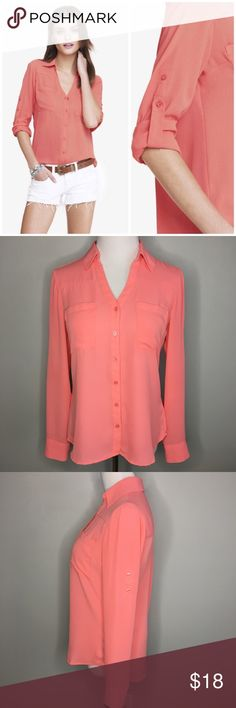 ab41f4cf Express Peach Desert Portofino Blouse - Sz S Fabulous Peach Desert Portofino  Shirt by Express.