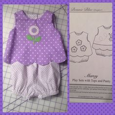 Play set sewn and appliquéd by Pamela Jacobs Collins, Springville Alabama.  Shown in size 3 months.