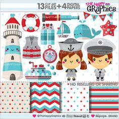 Nautical Clipart, Navy Clipart, COMMERCIAL USE, Kawaii Clipart, Cute Clipart, Marine Clipart, Sailor Clipart, Planner Accessories, Sea