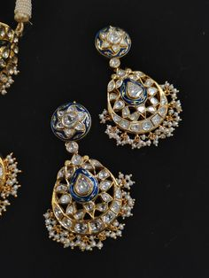 Jewelry Design Earrings, Small Earrings, Jewelry Necklaces, Jewellery, Bridal Jewelry, Silver Jewelry, Uncut Diamond, Indian Jewelry, Antique Jewelry
