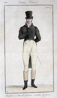 Costume Parisien 1816 via Serendipitous Stitchery: A study on Empire coats from 1810-1830, with a note on researching