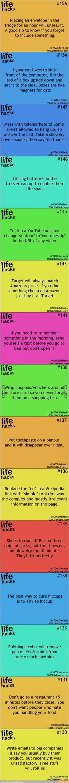 Cool life hacks.. They do help a lot ..