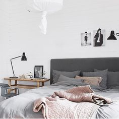 gray bedding with blush coverlet