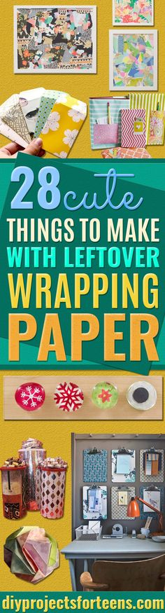 Cool Things to Make With Leftover Wrapping Paper - Easy Crafts, Fun DIY Projects, Gifts and DIY Home Decor Ideas - Don't Trash The Christmas Wrapping Paper and Learn How To Make These Awesome Ideas Instead - Creative Craft Ideas for Teens, Tweens, Teenagers, Boys and Girls  via @diyprojectteens Diy Home Decor For Teens, Crafts For Teens To Make, Handmade Home Decor, Diy For Teens, Kids Diy, Cool Diy Projects, Diy Projects For Teens, Craft Projects, Craft Ideas