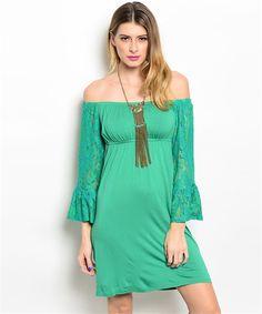 Green Off Shoulder Lace Sleeve Dress