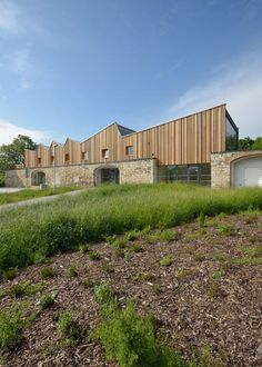 Flint, Stone and Pebbles: 7 Buildings That Marry Traditional Materials With Modern Forms - Architizer Timber Architecture, Residential Architecture, Architecture Details, Factory Architecture, Contemporary Architecture, Contemporary Barn, Roof Extension, Stone Barns, House Roof