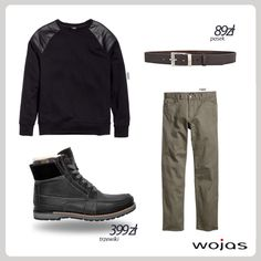 Podstawowym elementem zimowych stylizacji są ocieplane trzewiki Wojas z modną cholewką w kratę (3203-71). Połączone z czarną bluzą, prostymi spodniami w kolorze khaki i paskiem Wojas (40/G07BR) tworzą swobodne casualowe zestawienie.