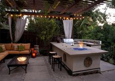 Outdoor Grill, Frig, Sink, Fire pit and bar next to the outdoor lounge.
