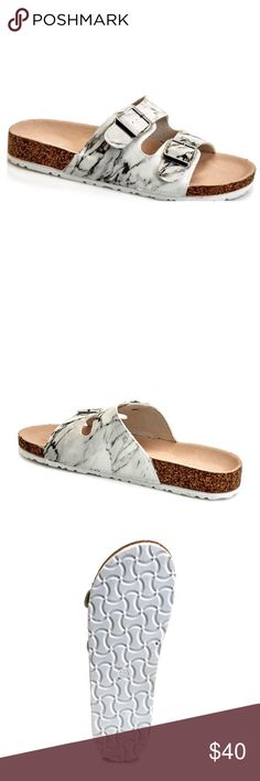 Qupid Marble 'Birkenstock Style' Sandals Qupid Marble 'Birkenstock Style' Sandals. Cute summer sandals without the high price tag. Arriving , place your order today to hold a pair... will ship in about 5-7 days! These do not come in half sizes, so I suggest sizing up if you are in between. See other listings for more available colors  Qupid Shoes Sandals