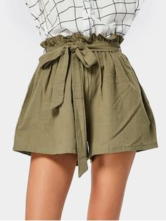 Yes Solid Flat Elastic High Loose Casual Smocked High Waist Belted Shorts Tie Shorts, Dressy Shorts, Belted Shorts, High Waisted Shorts, Jean Shorts, Womens Khaki Shorts, Shorts Outfits Women, Short Outfits, Winter Fashion Outfits