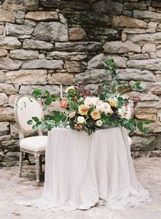 Outdoor fall wedding sweetheart table  Autumn Wedding Inspiration at the Mill at Fine Creek by Richmond Virginia Wedding Planner East Made Event Company and Michael and Carina Photography
