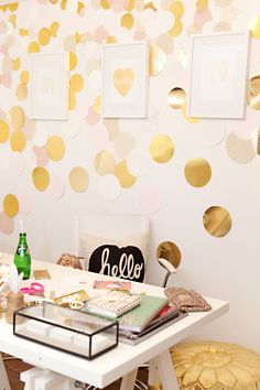 How to brighten your windowless office. 14 ideas for your workspace or home office. Office inspiration like adding pops of colors, using metallics and clear see-through accessories. For more office ideas, office furniture and desk decor go to Domino. Home Office, Office Decor, Office Spaces, Ikea Office, Office Ideas, Interior Inspiration, Room Inspiration, Confetti Wall, Confetti Background