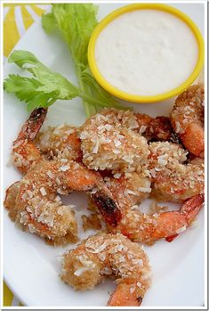 Coconut Baked Shrimp with Pina Colada Dipping Sauce | Doughmesstic