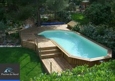 42 Beautiful Indoor and Outdoor Swimming Pool Designs Above Ground Pool Landscaping, Above Ground Pool Decks, Small Backyard Pools, Above Ground Swimming Pools, Small Pools, Outdoor Swimming Pool, In Ground Pools, Backyard Pavilion, Backyard Retreat