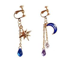 $5.99-- Women's Clip Earrings Crystal Classic Fashion Mismatch Crystal Alloy Moon Star Jewelry For Daily