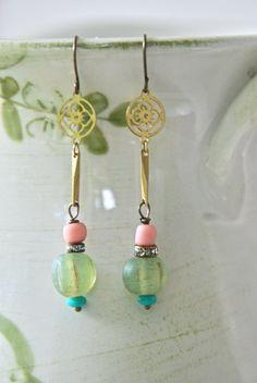 Lulu. glass beaded bohemian dangle earrings. by tiedupmemories, $16.50