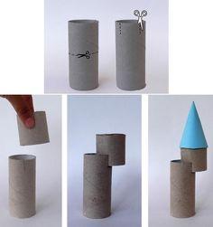 Reciclaje Rollos de Papel Castillos para Niños Cardboard Box Crafts, Cardboard Castle, Cardboard Toys, Toilet Roll Craft, Toilet Paper Roll Crafts, Paper Crafts, Recycled Crafts, Diy And Crafts, Arts And Crafts